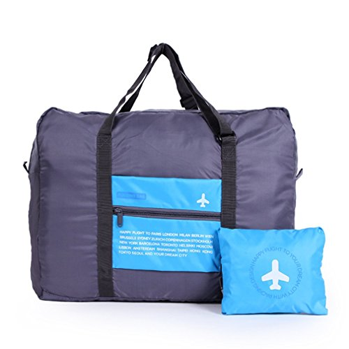 32L Large Foldable Travel Duffel Bag, WITERY Waterproof Lightweight Multifunction Folding Travel Luggage Bag / Sports Duffel Bags / Packing Organizer / Sports Gym Storage Bag Blue