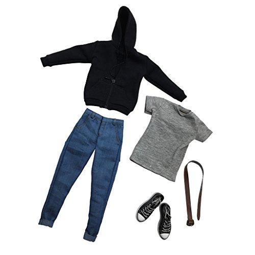 sharprepublic 1/6 Skala Herren Casual Outfits Kleidung Anzug Fit Für 12 '' Männlich Action Figure Körper - Schwarz, Blau, Grau