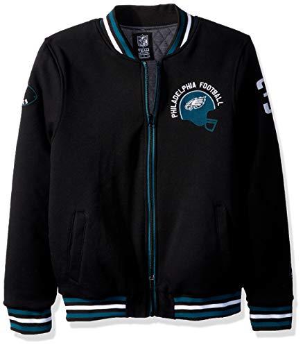 Icer Brands NFL Herren Fleece-Jacke mit Durchgehendem Reißverschluss, Vintage-Stil, Teamfarben, Herren, Full Zip Fleece Varsity Vintage Embroidered Jacket, schwarz, Small