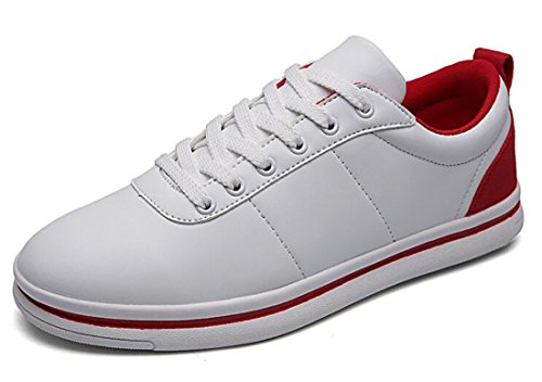 Men's Simple Teenage Outdoor Athletic Skateboarding Shoes White Red