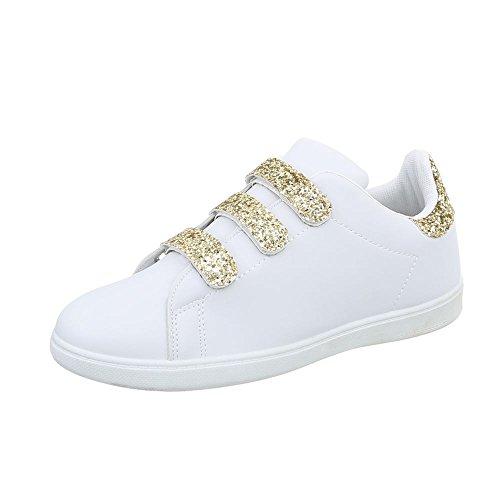 Ital-Design Sneakers Low Damen-Schuhe Sneakers Low Sneakers Klettverschluss Freizeitschuhe Weiß Gold, Gr 40, L7281- (Schuhe Gold Weiß)