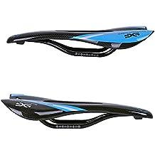 ELITA ONE Full de fibra de carbono sillín de bicicleta, asiento para bicicleta de montaña y bicicleta de carretera sillines, 3 K rojo verde azul (brillante/Mate) (azul Brillante)