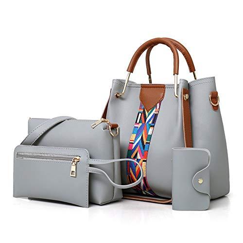 AlwaySky Frauen-Handtaschen-Set 4 in 1 Soft-PU-Leder Top Griff Tasche, Tragetasche, Schultertasche Crossbody Beutel-Geldbeutel-Set (blau) -