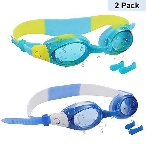 Bezzee-Pro Kinder Schwimmbrille 2 Stück mit 2 verstellbaren Nasenbügeln - UV-Schutz Junior-Schwimmbrillen für Kinder, Mädchen und Jungen- wasserdicht, Clear Lens