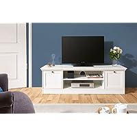 TV Lowboard weiß | Landhaus | inkl. Kabeldurchlass | umlaufende Profilleiste | Metallgriffe in Antik-Optik