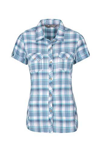 Mountain Warehouse Holiday Baumwollhemd für Damen - Kurzärmliges Oberteil für Damen, Freizeithemd, leichtes Sommerhemd, atmungsaktive Bluse - Für Reisen, Wandern Blau DE 50 (EU 52)