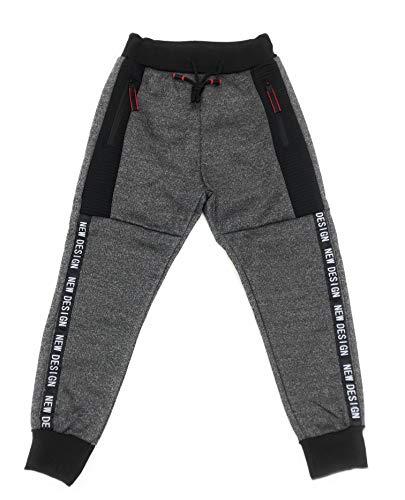 JillyMode Jogginghose I Sporthose für Junge mehre Farben mit Gummiband, Seitentaschen mit Reißverschluss Gr. 110 bis 164 (F1899-Dunkelgrau-12)