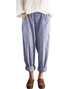 DAYLIN Pantalones Mujer Cintura Alta Vintage Rayas Suelto Algodón Lino Pantalones de Harén