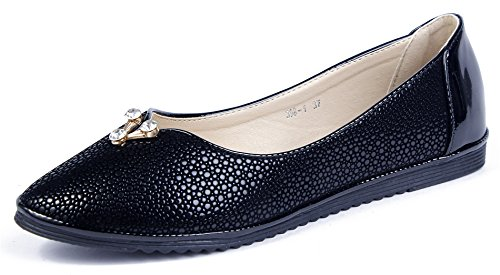 AgeeMi Shoes Damen Spitz Schließen Zehe PU Flache Ballerinas Schuhe Pumps,EuD45 Schwarz 39 (Damen Zehen Flache Schuhe)