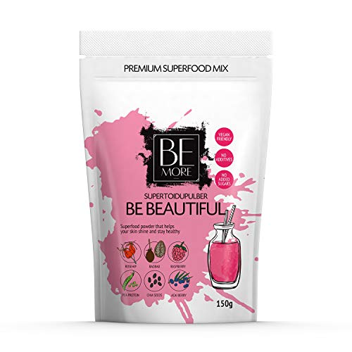 Be Beautiful Premium Superfood Pulver - Superfood Mix ist Natürlich, Vegan und Frei von Zusatzstoffen. Superfood Smoothie Mix ist reich an Zink (81{2b34c30b855515bf384b6782660d0cb2e6844aa420201419e3ed4bb0667575db} RDA) für starkes Haar, Haut und Nägel.
