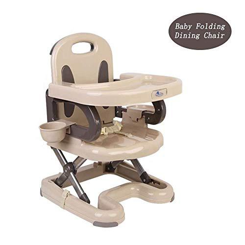 Klapptisch Baby-kompakter faltender Hochstuhl-Reise-Sitze, bewegliches justierbares Kleinkind-Kleinkind-Geschirr, das den Stuhl speist, verwendbar für Kind über 6 Monaten, Beige ( Farbe : Gray )