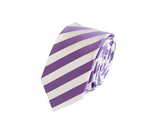 Fabio Farini Gestreifte Krawatte 6cm Breite in verschiedenen Farben für Büro Verein Hochzeit Weihnachten weiß lila (Und Weiß Hochzeit Lila)
