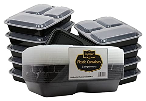 Superio Microwave And Dishwasher Safe Stackable Meal Prep Plastic Food Containers with Lid/Divided Plate/Bento Box/Lunch Tray (3 Compartment, Black) Pack Of 10