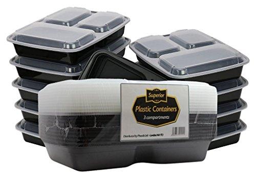 Superio, Lebensmittelbehälter, stapelbar, mikrowellen- und spülmaschinengeeignet, 3 Fächer, mit Deckel/Trennplatte, ideal für Bentō/Mittagessen, Schwarz, 10 Stück