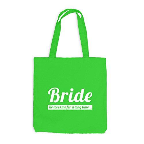 Jutebeutel - Junggesellenabschied - BRIDE He loves me very long time - JGA Braut Polterabend Junggesellen Hellgrün