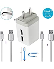 Felicity 3. 1 Ampere High Speed Dual Port Fast Charger Adapter with 2 USB Cable and Led Light Compatible for Oppo F1 Plus