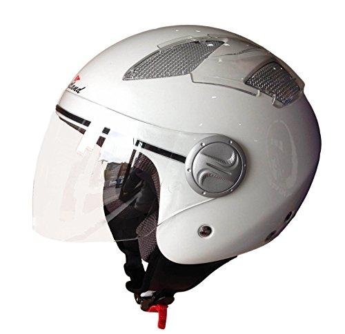 Scotland Casco D/Jet Abierto Moto/Scooter con Ventilación, Blanco Brillante, 55-56 (S)