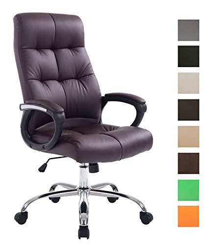 CLP XXL Bürostuhl Poseidon mit Kunstlederbezug | Höhenverstellbarer Drehstuhl mit Laufrollen | Chefsessel mit max.Tragkraft bis zu 160 kg Braun