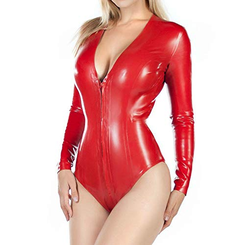 Frauen Sexy Latex Catsuit Wetlook Zipper Langarm High Cut Bodysuit Clubwear (XL(B100 W84 H102CM))