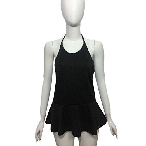 Reaso Femmes Hauts, Été Sans Manches Dos nu Gilet Robe Noir