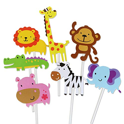aiyinhuofen 11 36 Stück niedliche Kreaturen Cupcake Picks Animal Friends Topper Kids Woodland Theme Baby Shower Birthday Party Kuchen Dekoration, 1 für Home Dekoration Animal World Card(7 Pieces)