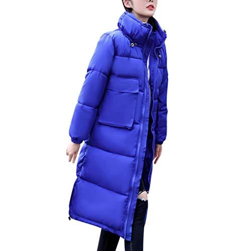 GOKOMO Daunenjacke Damen Winter Baumwollkleidung Frauen Langarm Cap Mit Baumwolljacke Jacke Top(Blau,Medium)