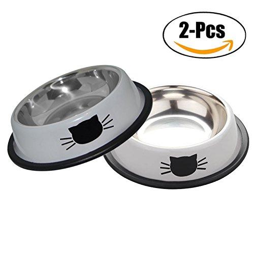 Ciotole gatto,legendog 2 pezzi piotola cibo in acciaio inox ciotole antiscivolo per gatti
