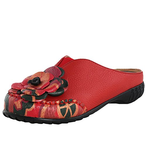 MatchLife Femme Vintage Cuir Flat Creux Pantoufles Style2-Rouge