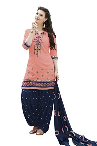 KVSFAB Women's Cotton Patiala Salwar Suit(unstitched dressmaterial,Peach & Blue)[KVSSK7561PA_42]