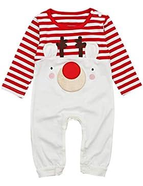 Neugeborenes Säugling Baby Junge Mädchen Weihnachten Strampler Rentier Spielanzug Lange Ärmel Gestreift Overall