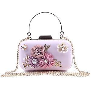 41s7QKDotuL. SS300  - EVEOUT Bolso de Novia con Cuentas Flor Perlas para Novias,Bolso de Mano para Mujer en Piel Bolso de Fiesta para Mujer…