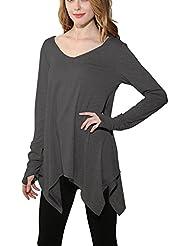 Mena UK La manera de las mujeres suelta las mangas largas irregulares del dobladillo de los puños a prueba de viento Camiseta elegante ( Color : Gris oscuro , Tamaño : L )