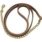 Riendas de cuero artesanal con cadena, longitud 2,20MT. Cadena inoxidable o Ltda.lk7010, cuoio naturale