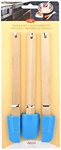 Les 3 spatules maryse silicone manche bois - Bleu