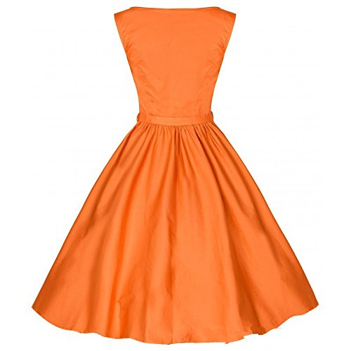 Dabag - rétro épaule de mot Audrey Hepburn style imprimé sans manches et robe de soirée mince pure couleur robe swing (L, Jaune) Orange