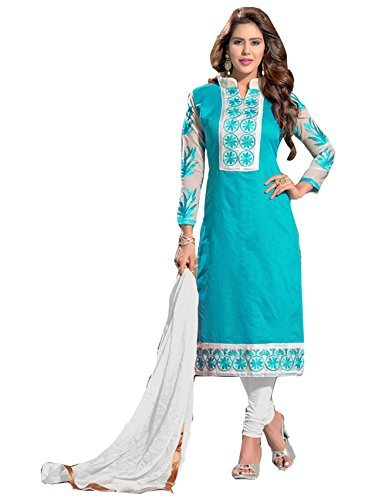 Blissta Light Blue Chanderi Embroidered Straight Dress Material(MLKB1007)