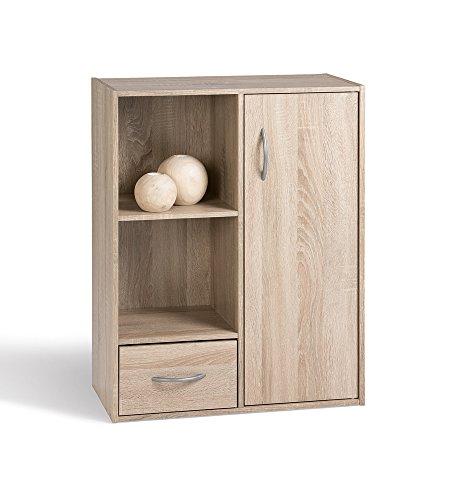 Alsapan Compo 09 Mobiletto in legno con strato superficiale in melammina, con un'anta, un cassetto e due ripiani a forma di cubo, 80 x 61,5 x 29,5 cm - 2