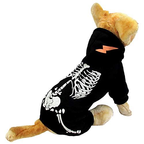 HDE Hundekostüm Skelett-Kapuzenpullover, Einteiler, Schwarz mit Skelettdruck und Kapuze, Small, - Familienfreundliche Kostüm