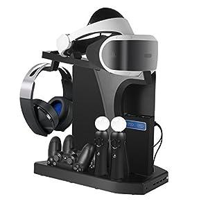 DACCKIT Lade- und Displayständer für Playstation VR – Controller Ladestation Vitrine mit Kühlventilator kompatibel mit Playstation 4 / PS4 Pro / PS4 Slim