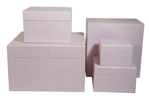 Semikolon 5er Schachtelsatz in verschiedenen Größen vichy rosa (weiß-rosa kariert) | Toll als Geschenkboxen, Geschenkschachteln o. Aufbewahrungsboxen |Tolles Geschenk zur Geburt oder Taufe | Je eine Box in den Maßen 29 x 29 x 18 cm | 24 x 24 x 16 cm | 18 x18 x12 cm | 16 x 16 x 10 cm | 12 x 12 x 8 cm Square Format Matte