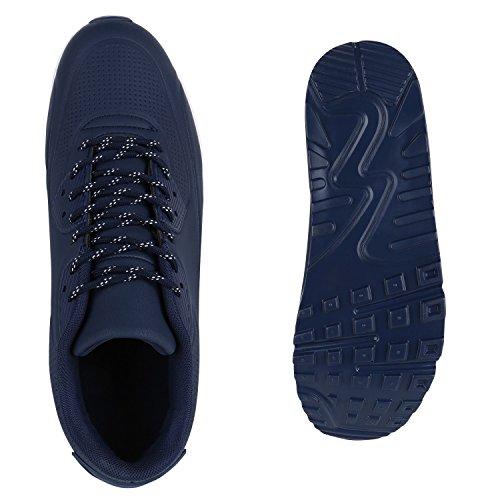 Stiefelparadies Herren Sportschuhe Leder-Optik Sneakers Velours Glitzer Metallic Runners Freizeitschuhe Schnürer Flandell Dunkelblau Brito