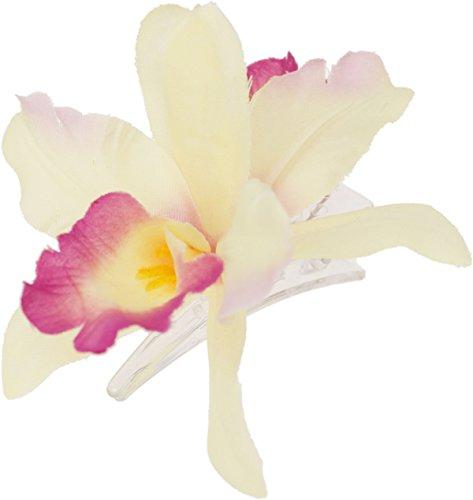 Stoff Tiki (Killer Kirsche Damen Haarspange Orchideen Blüten Spange Spange 4cm, Blüte 9cm x 4cm)