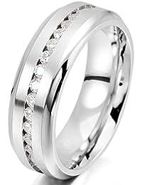 MunkiMix 7mm Acero Inoxidable Eternidad Eterno Anillo Ring Banda Venda Cz Cubic Zirconia Circonita El Tono De Plata Alianzas Boda Compromiso Promesa Hombre