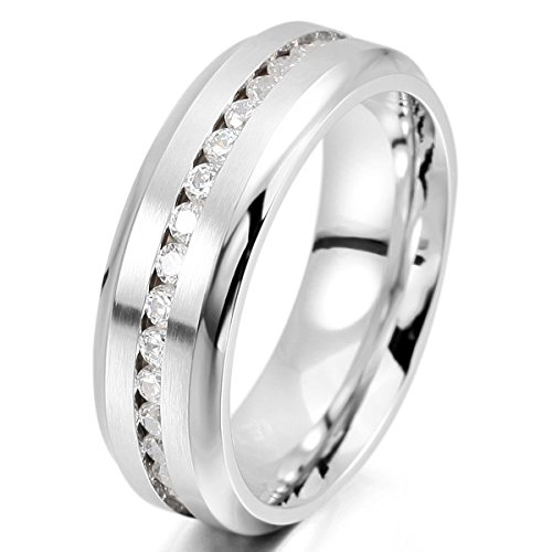 MunkiMix 7mm Edelstahl Ewigkeit Ewig Ring Band CZ Zirkon Zirkonia Silber Ton Hochzeit Engagement Verlobungsringe Verlobung Größe 54 (17.2) Herren (Jacke Hochzeit Band)