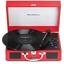 Ricatech RTT21 - Tocadiscos portátil de 3 velocidades en forma de maleta (altavoces estéreo, Bluetooth, Line-In y RCA Line Out), color rojo