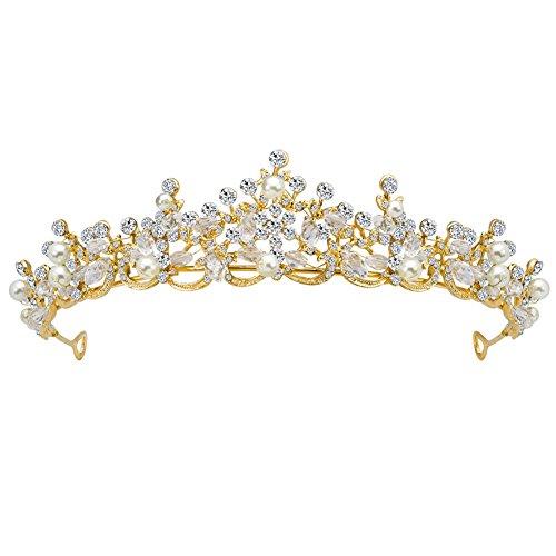 Fablcrew Strass Diadem Haarspange Krone Prinzessin Stirnband Haarspange Diadem Sehr schöne Glitzerkrone Das Diadem Hohle gehobene Braut Krone Kopfschmuck(Gold)
