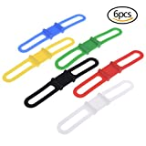 #10: OKASU 6 Pcs Cycling Bike Bicycle Silicone Band Flashlight Phone Strap Tie Ribbon Mount Holder