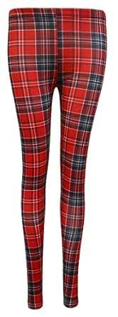 Crazy Girls Womens Tartan Print Leggings Skater Dress Ladies Check Belted Party Skirt (S/M-UK8/10, Red & White Legging)