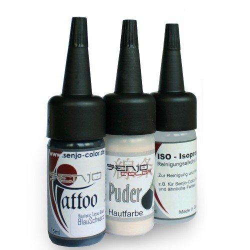Senjo Color Tattoo Malset Blauschwarz - Old Age - für Pinsel und Airbrush -