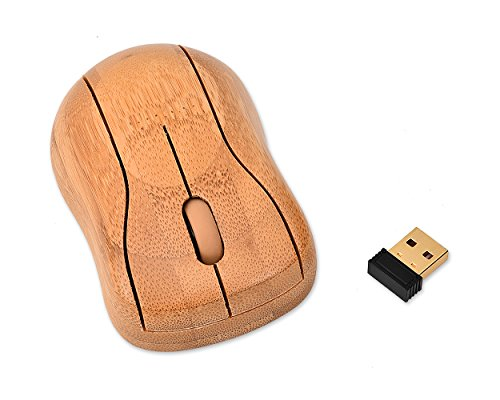 DSstyles Kabellose Maus MG95 Bamboo Maus 2.4GHz 1200/1600 DPI Laptop Maus mit Nano Empfänger